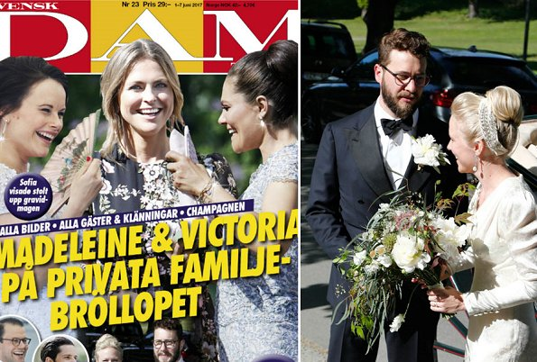 Princess Madeleine wore GIAMBATTISTA VALLI floral print gown and Valentino shoes, carried Valentino Pink Rockstud Clutch Bag, Crown Princess Victoria wore Valerie Aflalo Mabel top and Corn skirt, carried Abro clutch Princess Sofia IDA SJOSTEDT gown