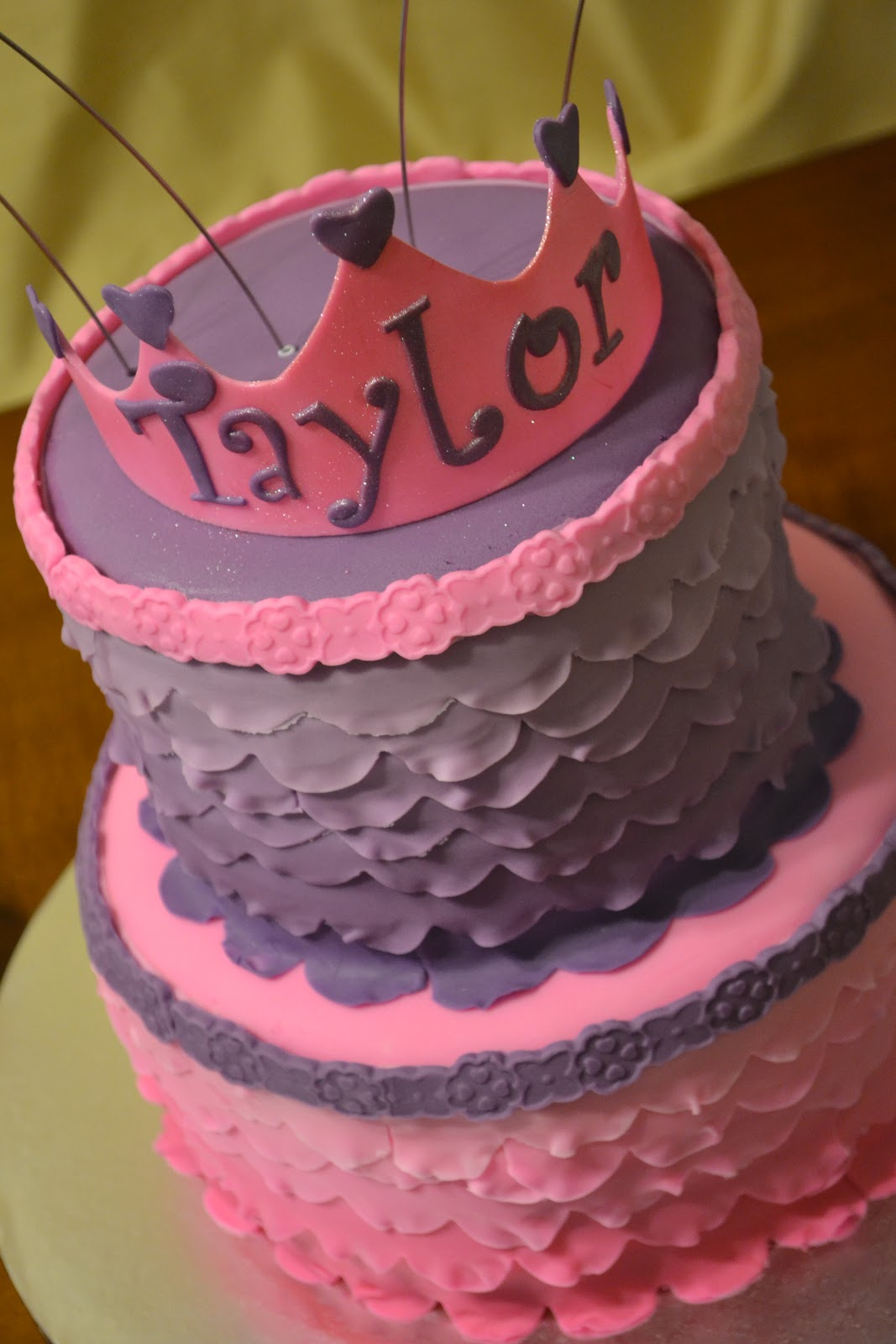 Cakes By Lala Pink And Purple Ombre Ruffle Princess Cake