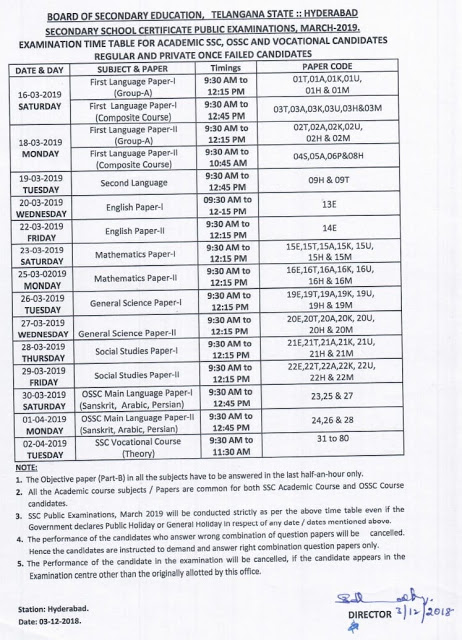 TS SSC - 2019 Public Examination  Timetable
