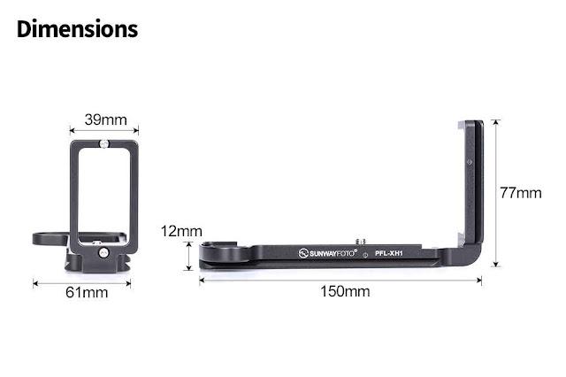 Sunwayfoto PFL-XH1 L bracket dimensions