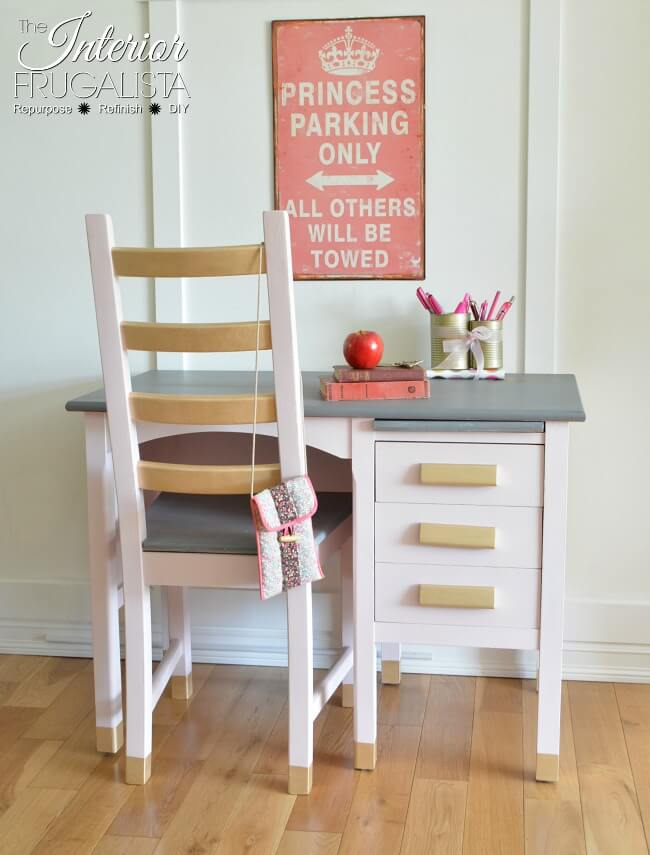 9 Creative Desk Makeovers - Pretty In Pink Vintage Student Desk