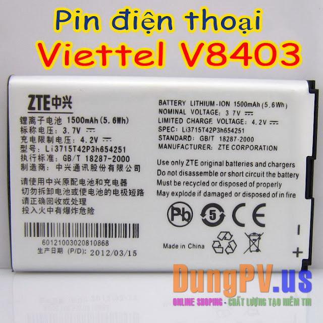 Pin điện thoại Viettel V8403