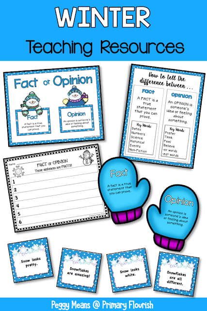This winter fact and opinion activity is great for your 1st, 2nd, and 3rd grade classroom or home school students to master the skill of identifying facts and opinions. You get fact and opinion anchor charts, fact cards, opinion cards, mittens for sorting and recording sheets. Perfect for your winter literacy centers! {first, second, third}
