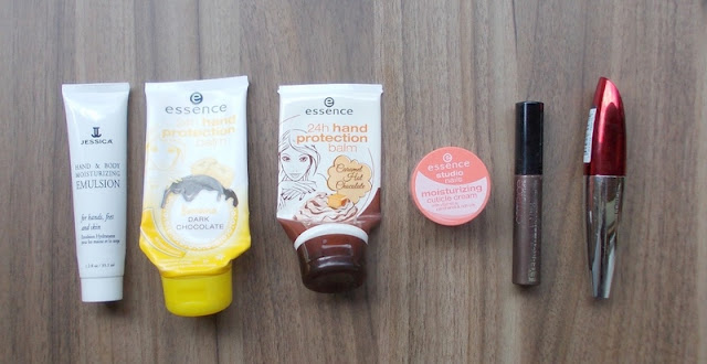 empties used up cosmetics jessica essence hand cream catrice brow gel loreal mascara