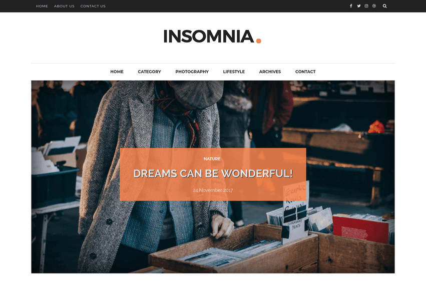 Insomnia Personal Blogger Template
