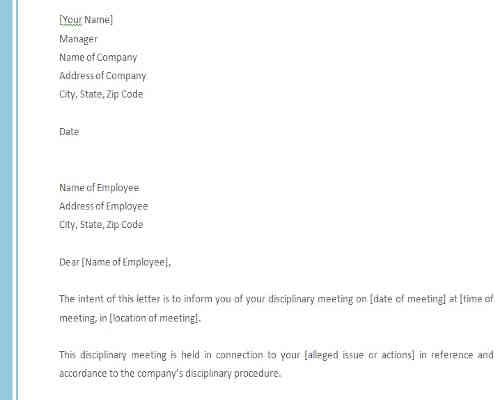 Disciplinary Letter