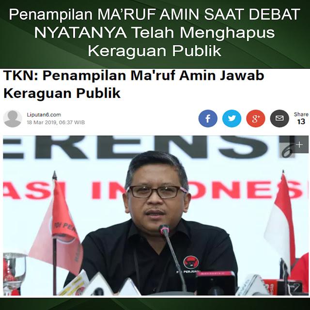 TKN: Penampilan Ma'ruf Amin Jawab Keraguan Publik