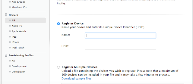 Add Device to the Apple poirtal