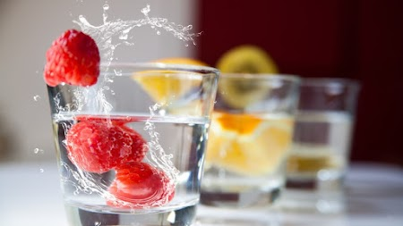 Raspberry, Orange and Cherries in Water