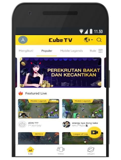 Tampilan Awal Cube TV