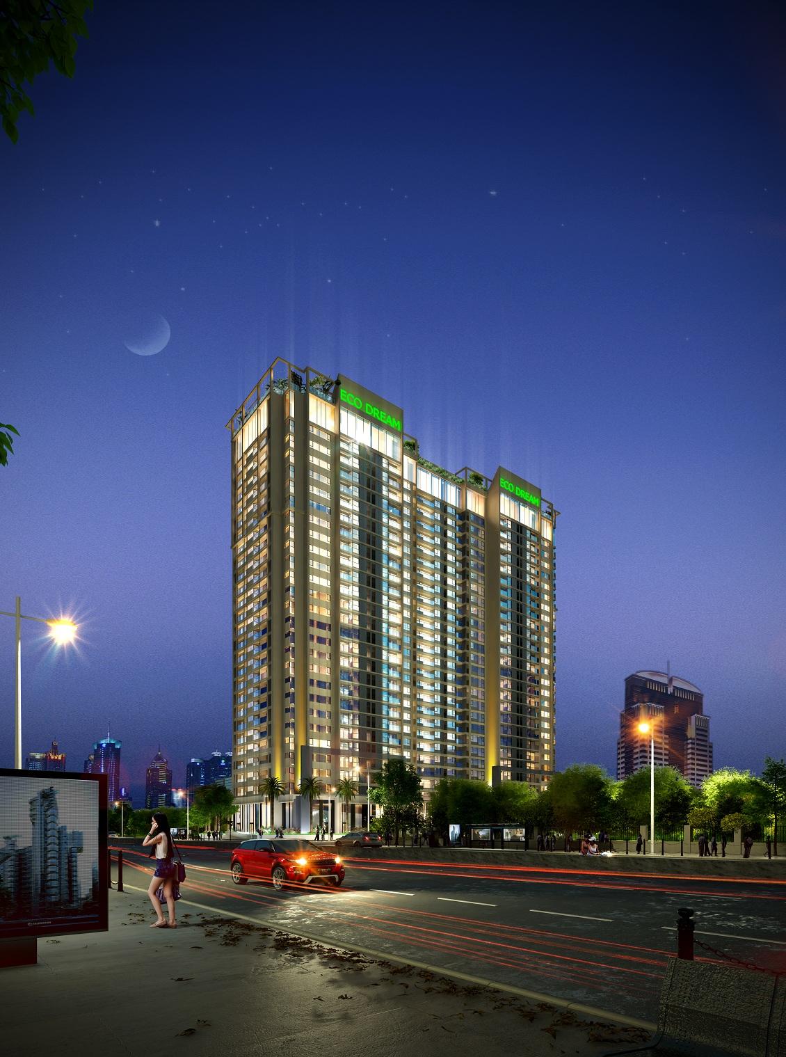 Phối cảnh về đêm chung cư Eco Dream City