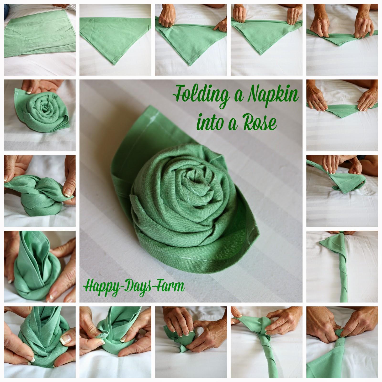Folding A Napkin Into Rose Tutorial