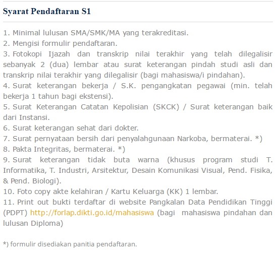 Syarat Pendaftaran S1 Unindra