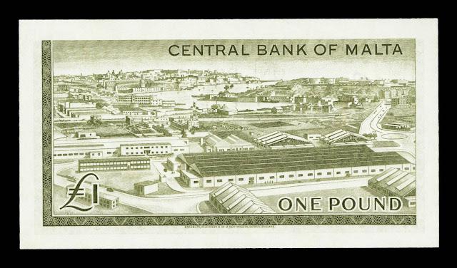 Malta money currency 1 Pound banknote 1967 Marsa industrial Estate