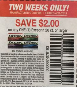 $2.00/1 Excedrin product 20 ct or larger. (LIMIT 4), 4/7 RMN #1, exp. 04/21/2019