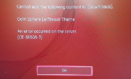 Can't download themes in PlayStation error code CE-38606-3