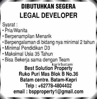 Lowongan Kerja PT. Best Solution Property
