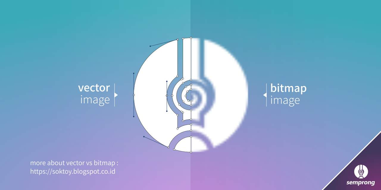 perbedaan antara gambar vektor dengan bitmap