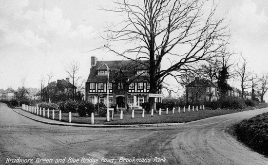 Photograph of a Postcard of Bradmore Green and Bluebridge Road, Brookmans Park, taken in the 1930s Image from Peter Miller's collection