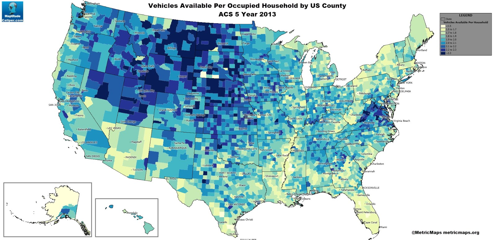 Vehicles available per occupied household by U.S. country