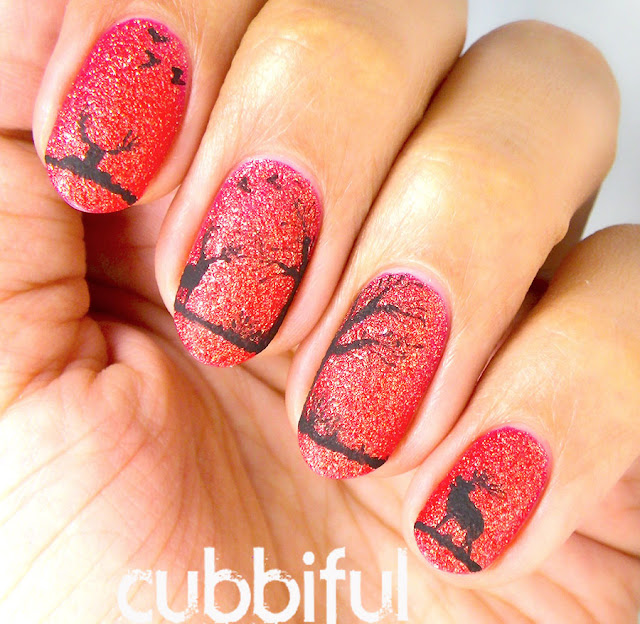 sunset landscape nail art