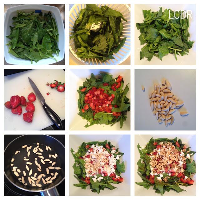Receta de ensalada espinacas fresas queso y piñones 02