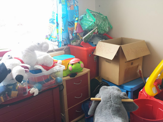 Tidying up the boy's bedroom!