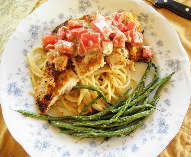 ... Kitchen: Savory Herb Crusted Chicken with Tomato-Garlic Cream Sauce