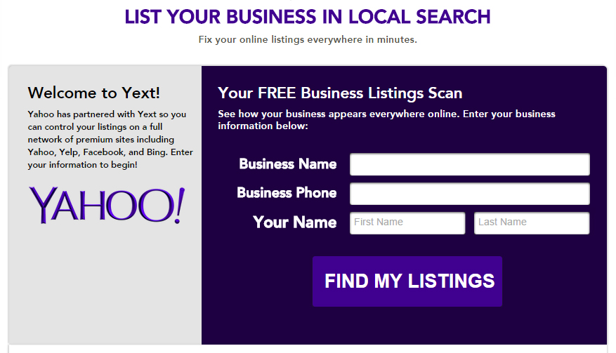 yahoo local business listings move to yext for improved management
