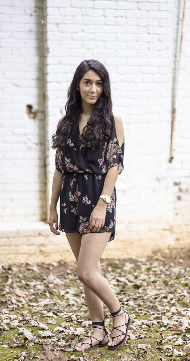 how to wear a floral romper