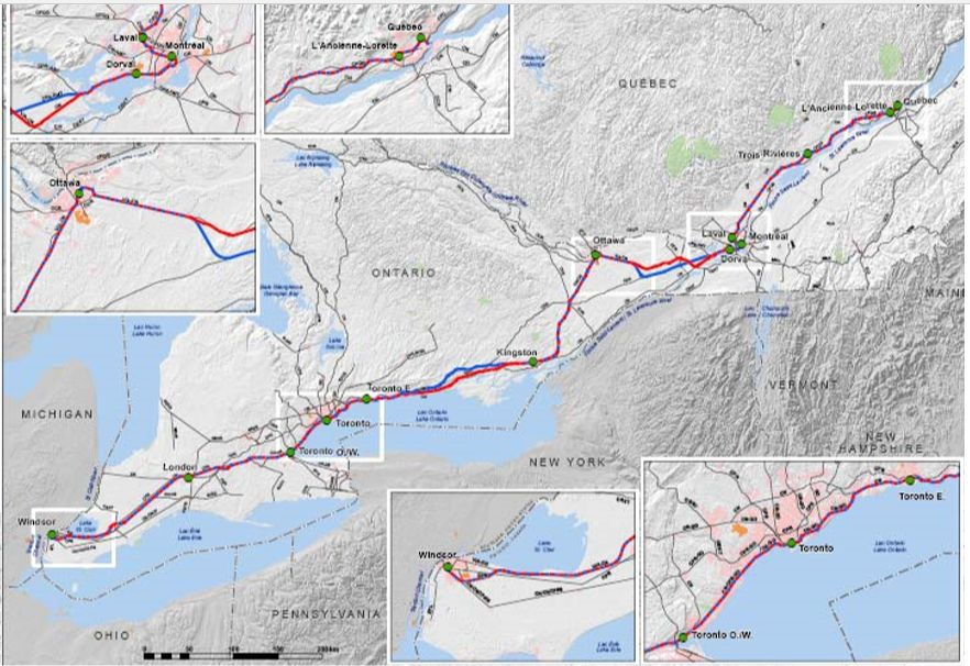 ONTARIO QUEBEC HIGH SPEED RAIL STUS, MAPS AND HEARINGS on