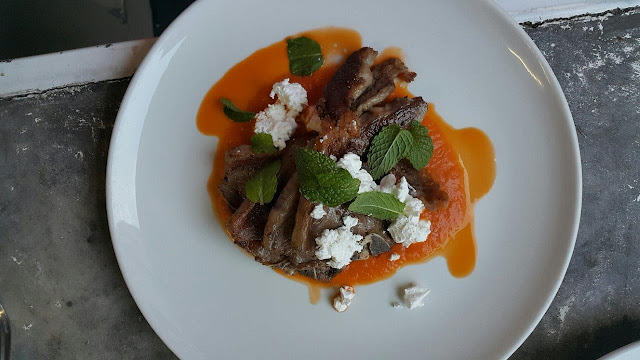 Lamb cutlets with a minted roast tomato sauce & crumbled feta