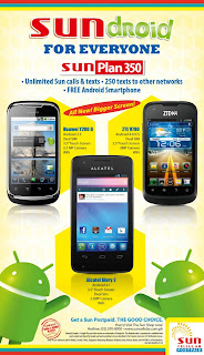 Sun Plan 350 offers Alcatel Glory 2, Huawei Y200 D and ZTE V790