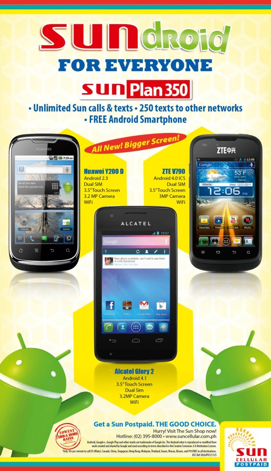 Sundroid – Sun Plan 350 offers Alcatel Glory 2, Huawei Y200 D and ZTE V790