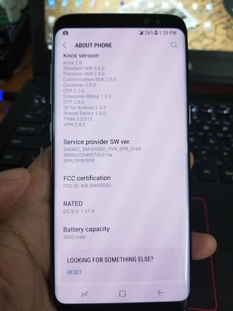 Simcard Unlock Samsung Galaxy S8 Sprint G950U Carrier SPR