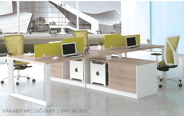 bàn ghế văn phòng chất liệu mdf melamine