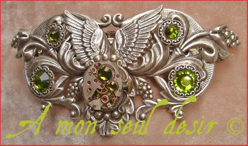 Barrette Pince Cheveux steampunk mécanisme ailes watchwork hair slide jewel
