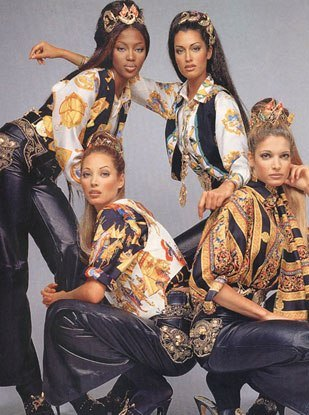 Supermodels dressed in classic Versace. Copyright free Image via https://salemlighthouse.blogspot.co.uk