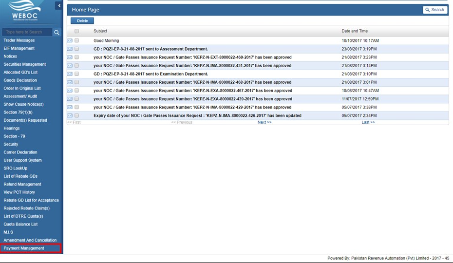 Weboc-Homepage-payment-management