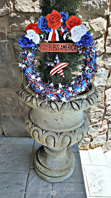Patriotic wreath made with pool noodle