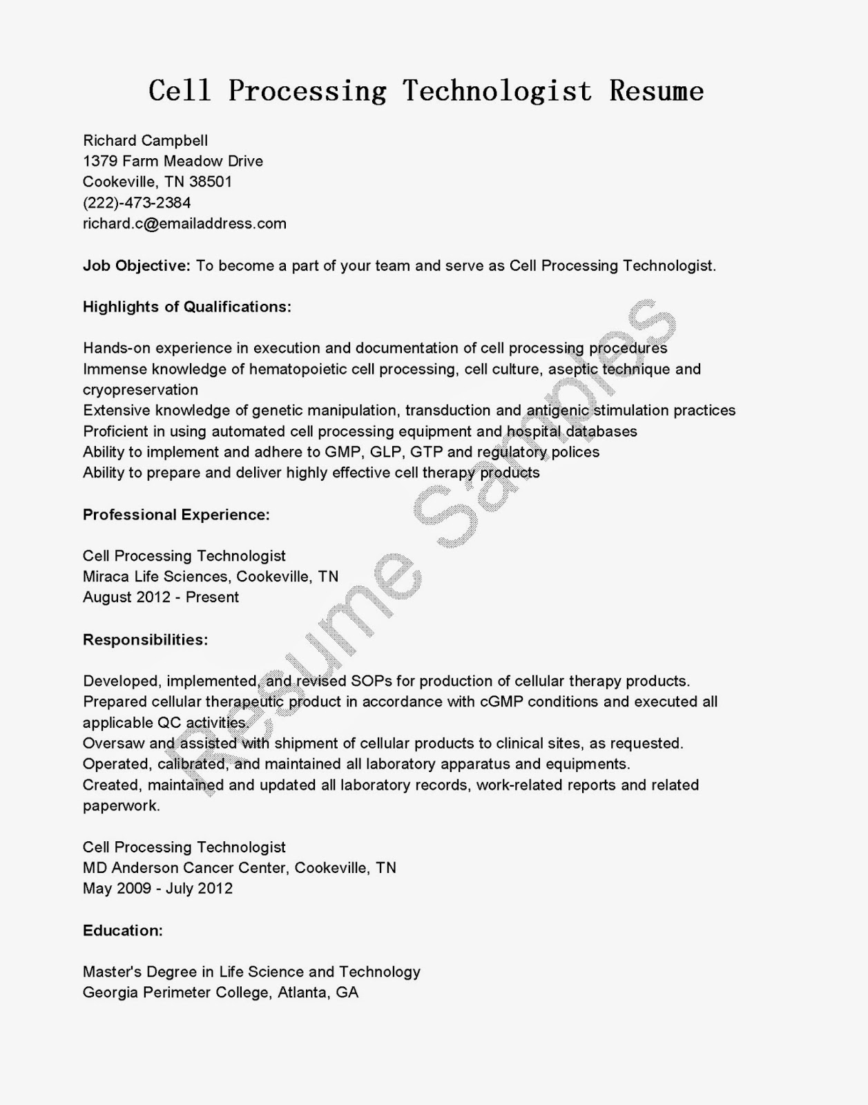 resume samples  cell processing technologist resume sample