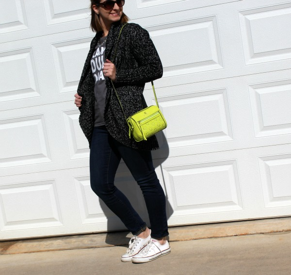 kate spade bag, white converse, mom style