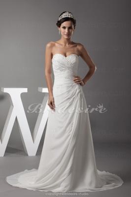A-linje Hjärtformad Hovsläp Ärmlös Chiffong brudklänning