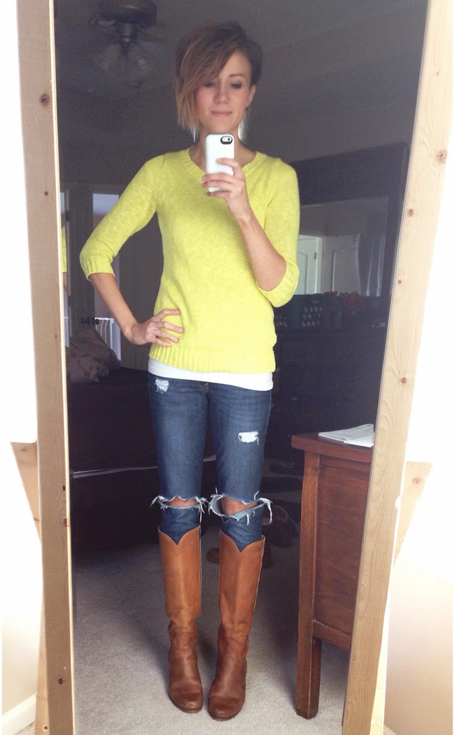 Citron sweater, ripped jeans and tall vintage boots
