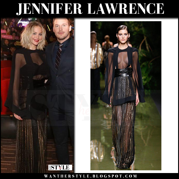 Jennifer Lawrence in sheer black top and sheer black and gold maxi skirt balmain red carpet what she wore