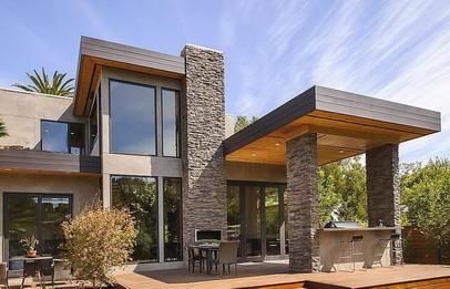 Desain rumah minimalis dengan batu alam