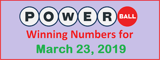 PowerBall Winning Numbers for Saturday, 23 March 2019