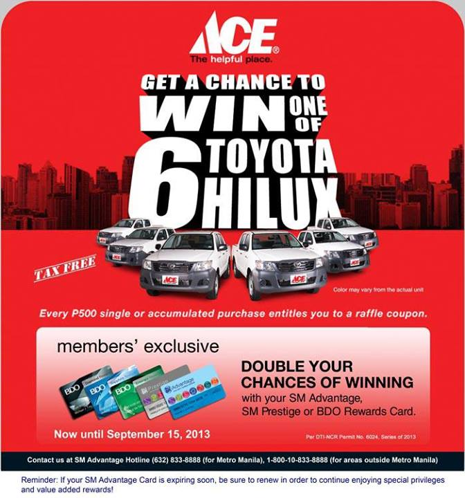6402aeaab705b3 EXPIRED  ACE Hardware Chance of winning TOYOTA HILUX with your SMAC