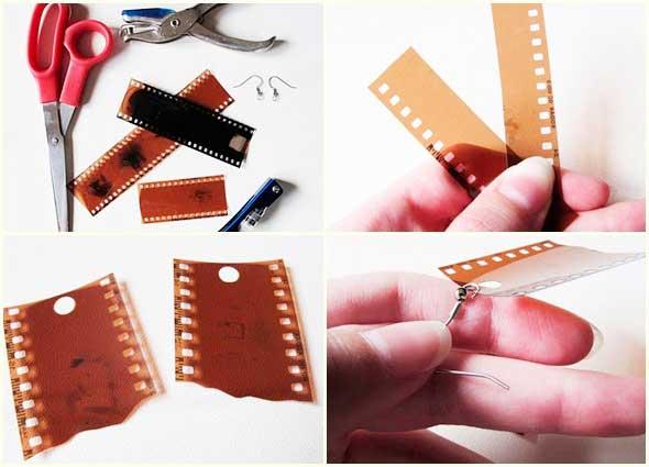 pendientes, reciclar, negativos fotografía, manualidades, bisutería