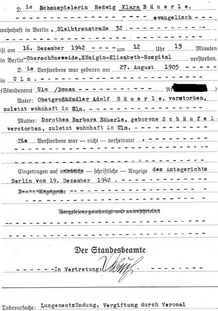 Death Registration of Clara Bauerle